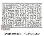large vector horizontal maze... | Shutterstock .eps vector #492407650