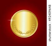 gold coin. vector illustration... | Shutterstock .eps vector #492409648