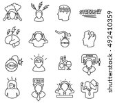 stress icons set  line style... | Shutterstock .eps vector #492410359