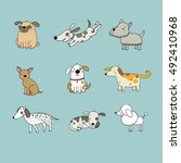 set of cartoon dogs. happy pets.... | Shutterstock .eps vector #492410968