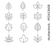 leaf thin line vector icons.... | Shutterstock .eps vector #492413608