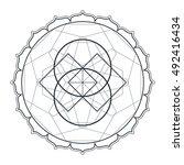 vector contour monochrome... | Shutterstock .eps vector #492416434