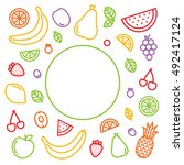 outline graphic style fruits... | Shutterstock .eps vector #492417124
