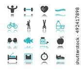 healthy icons with reflection... | Shutterstock .eps vector #492417898