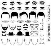 man face eyes and noses ... | Shutterstock .eps vector #492421243