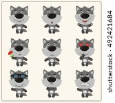 vector set isolated emotion... | Shutterstock .eps vector #492421684