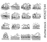 farming fields line  icons...