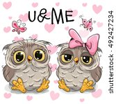 Two Cute Owls On A Hearts...