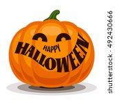 happy halloween with pumpkin | Shutterstock .eps vector #492430666