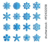 set of vector paper snowflakes | Shutterstock .eps vector #492432058