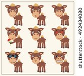 vector set isolated emotion... | Shutterstock .eps vector #492434080