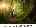 woman traveler with backpack... | Shutterstock . vector #492434728