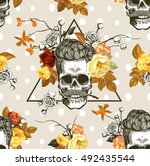 autumn mood. seamless pattern... | Shutterstock .eps vector #492435544