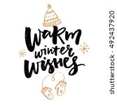 warm winter wishes text.... | Shutterstock .eps vector #492437920