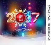 merry christmas sign 2017... | Shutterstock .eps vector #492439123