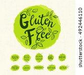 gluten free logo  lettering...   Shutterstock .eps vector #492446110