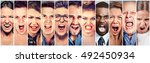 angry people screaming. group... | Shutterstock . vector #492450934