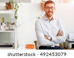 young man in offfice | Shutterstock . vector #492453079