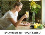 portrait of an attractive woman ... | Shutterstock . vector #492453850