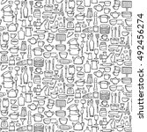 seamless pattern of hand drawn... | Shutterstock .eps vector #492456274