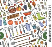 autumn garden harvest  seamless ... | Shutterstock .eps vector #492456754