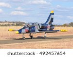Small photo of BLOEMFONTEIN, SOUTH AFRICA - JULY 16, 2016: An unidentified pilot in an Aero L-39 Albatros in a public display at the Tempe Airport at Bloemfontein