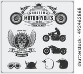 collection of retro motorcycle... | Shutterstock .eps vector #492462868