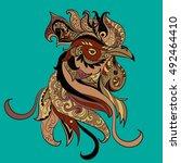 rooster art. cock symbol.... | Shutterstock . vector #492464410