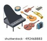 music  vector isometric concept ... | Shutterstock .eps vector #492468883