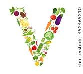 v letter from vegetables. | Shutterstock . vector #492469210
