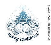 vector merry christmas... | Shutterstock .eps vector #492469948