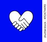 handshake in form of heart on...   Shutterstock .eps vector #492474490