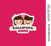 vector cartoon lollipops store... | Shutterstock .eps vector #492475720