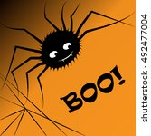 halloween greeting card or... | Shutterstock .eps vector #492477004