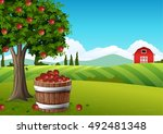 countryside landscape with... | Shutterstock .eps vector #492481348