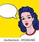 vintage retro clip art woman...   Shutterstock .eps vector #492481480