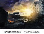 tank in ruined city | Shutterstock . vector #492483328