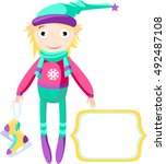 winter elf in colorful warm... | Shutterstock .eps vector #492487108