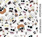 seamless zombie pattern | Shutterstock .eps vector #492494566