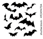 set of vector silhouettes of... | Shutterstock .eps vector #492494704