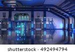 3d render of sci fi hangar blue ... | Shutterstock . vector #492494794
