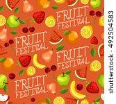 fruit festival   fruit seamless ... | Shutterstock .eps vector #492504583