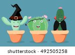three cactuses dress as witch ... | Shutterstock .eps vector #492505258