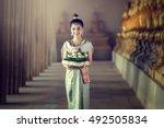 asia woman in thai dress...   Shutterstock . vector #492505834
