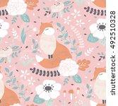 vector seamless floral pattern... | Shutterstock .eps vector #492510328