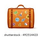 orange leather vector suitcase...   Shutterstock .eps vector #492514423