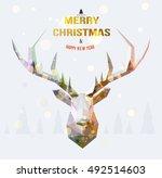 vector polygonal reindeer... | Shutterstock .eps vector #492514603