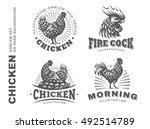 Set Chicken Logo  Design Emble...