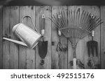 garden tools hanging and... | Shutterstock . vector #492515176