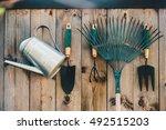 garden tools hanging and... | Shutterstock . vector #492515203